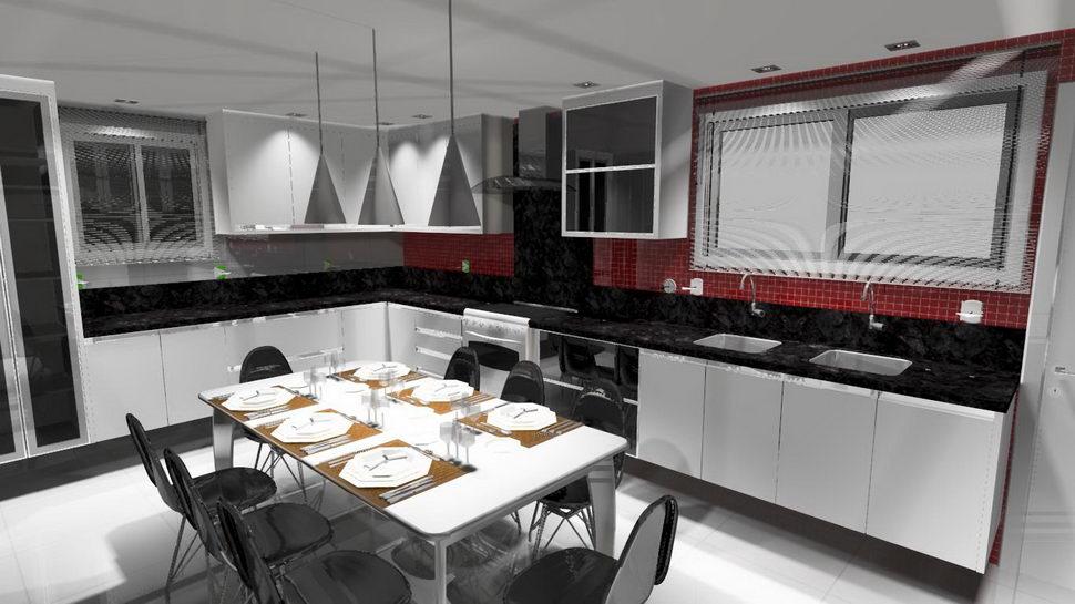Projeto 3D de cozinha cliente Buogini